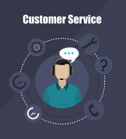 man working as customer service vector illustration