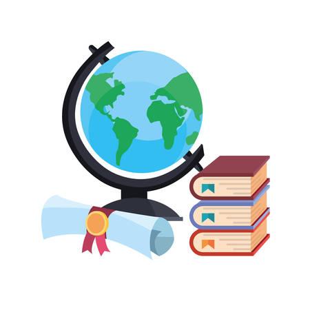 school globe books and certificate vector illustration