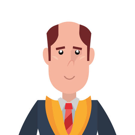 graduate man portrait on white background vector illustration