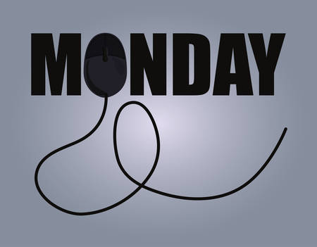 cyber monday mouse sign degrade background vector illustration
