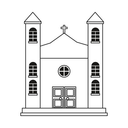 classic church building religion christianity vector illustration