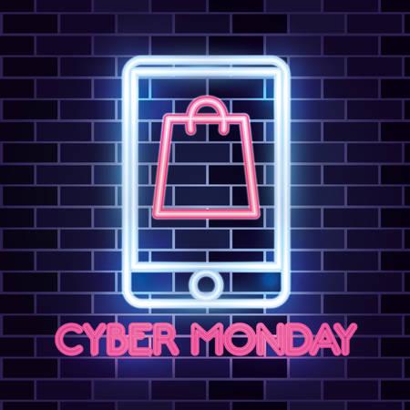 cyber monday sale smartpone screen neon bag vector illustration Illustration
