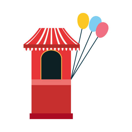 circus booth with balloons carnival festival vector illustration outline