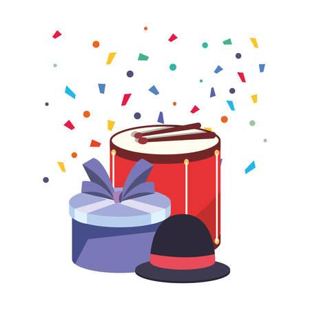 drum with gift box and hat over white background vector illustration Vektoros illusztráció