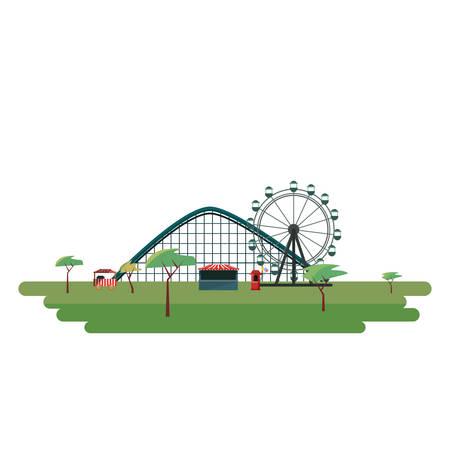 roller coaster ferris wheel carnival booth vector illustration