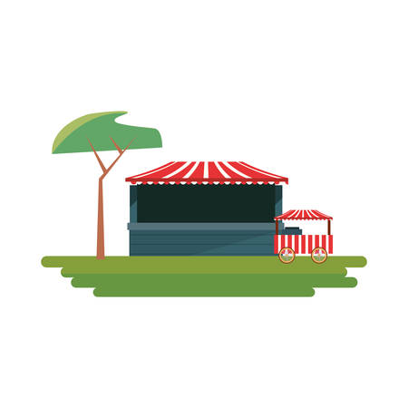 tree park booth food carnival festival vector illustration Illustration