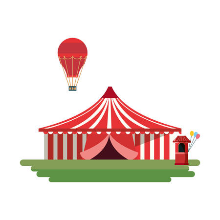 circus tent and hot air balloon over white background, vector illustration 向量圖像