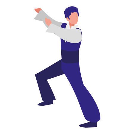 flamenco male dancer icon over white background, colorful design. vector illustration Stock Illustratie
