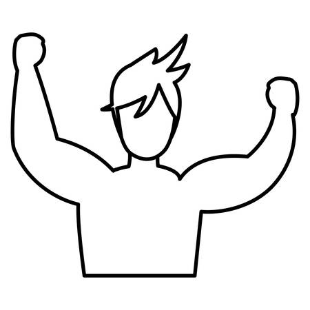 muscle man with arms up over white background, vector illustration