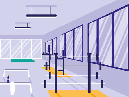 area for weightlifting in sport gym vector illustration design