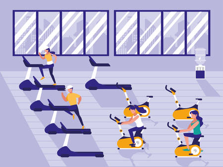 people practicing sport in gym vector illustration design
