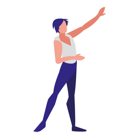avatar ballet male dancer over white background, vector illustration