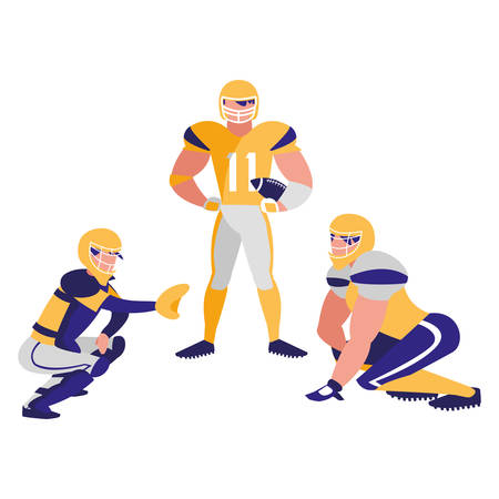 american football players with safety equipment over white background, colorful design. vector illustration Stock Illustratie