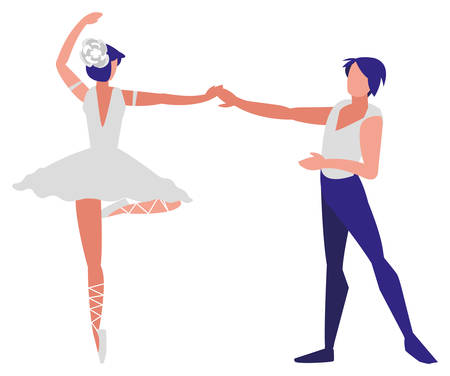 ballet couple of dancers dancing over white background, colorful design. vector illustration