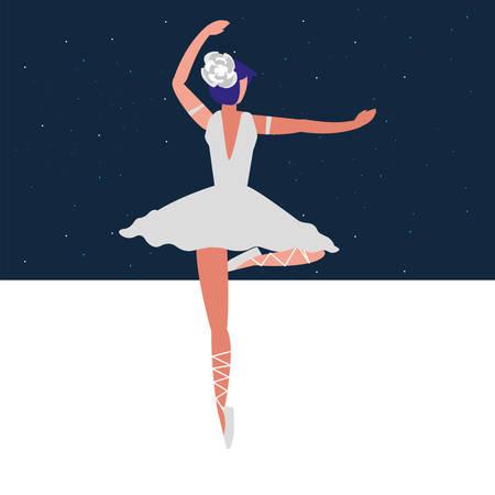 Avatar icono de bailarina de ballet sobre fondo de colores, ilustración vectorial