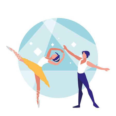ballet couple of dancers dancing over white background, colorful design. vector illustration