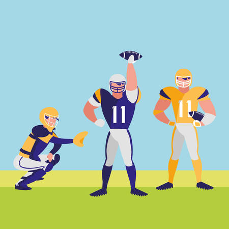 american football players with safety equipment over landscape background, colorful design. vector illustration