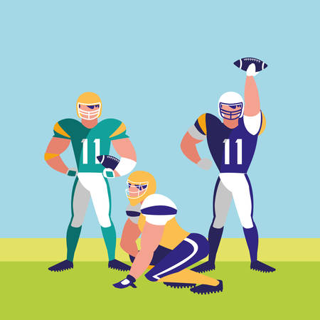 american football players over landscape background, colorful design. vector illustration