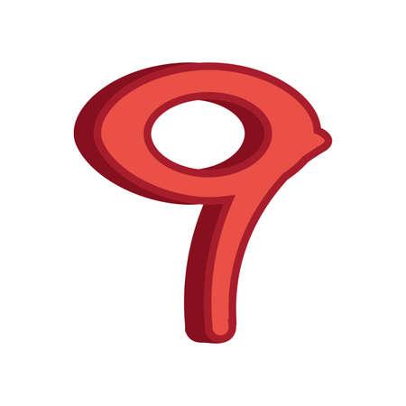 red nine number 3d font on white background vector illustration
