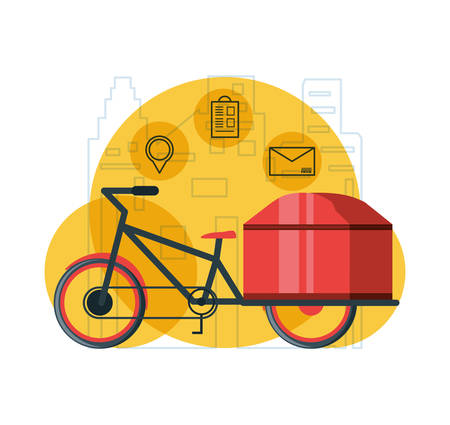 bicycle for logistic service isolated icon vector illustration design