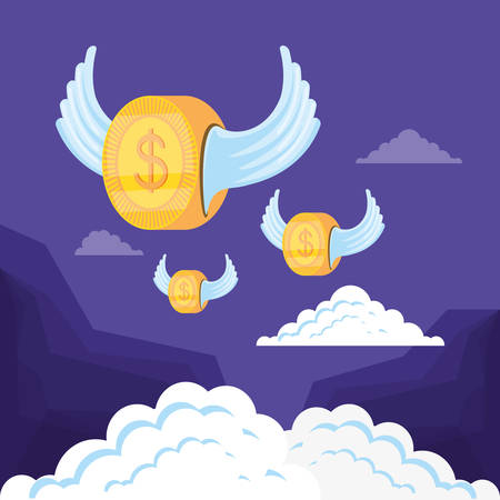 coin dollar flying isolated icon vector illustration design