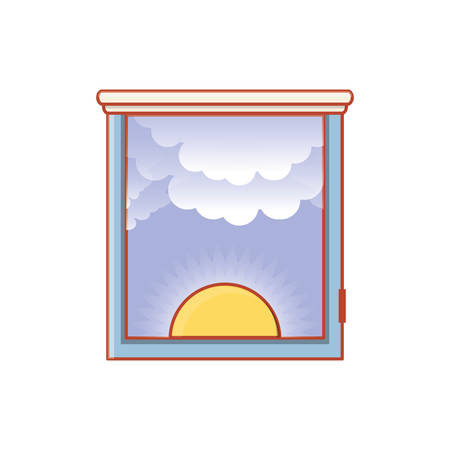 window with view of day isolated icon vector illustration design