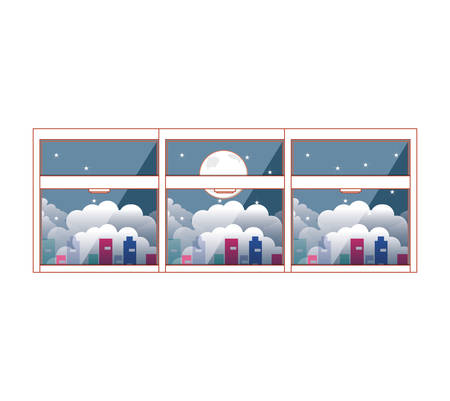 window with view night and cityscape vector illustration design