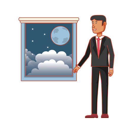 window with view of night and businessman vector illustration design