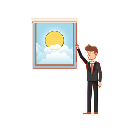 window with view of day and businessman vector illustration design