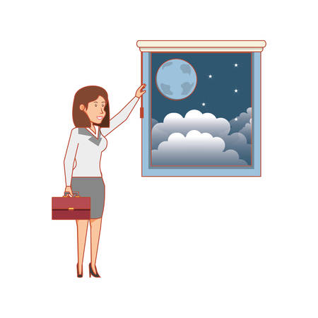 window with view of night and businesswoman vector illustration design