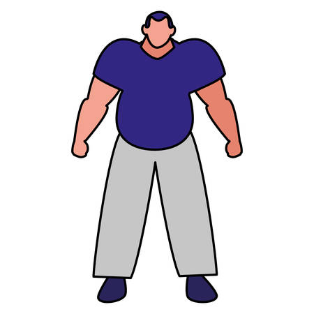 muscle man icon over white background, vector illustration
