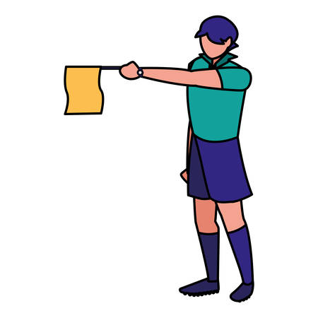 soccer linesman referee with a flag  icon  over white background, vector illustration