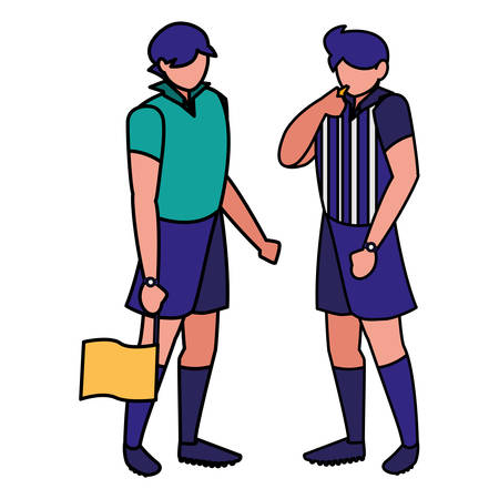 soccer linesman referees with a flag  icon  over white background, vector illustration