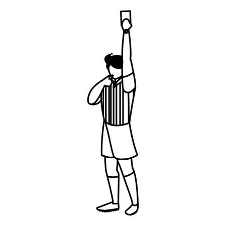 Árbitro de fútbol mostrando una tarjeta sobre fondo blanco, ilustración vectorial Ilustración de vector