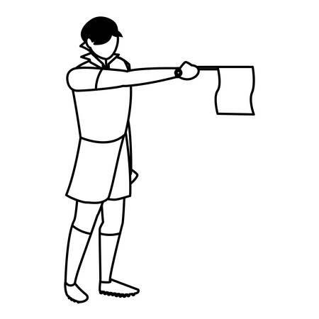 soccer referee showing a flag over white background, vector illustration