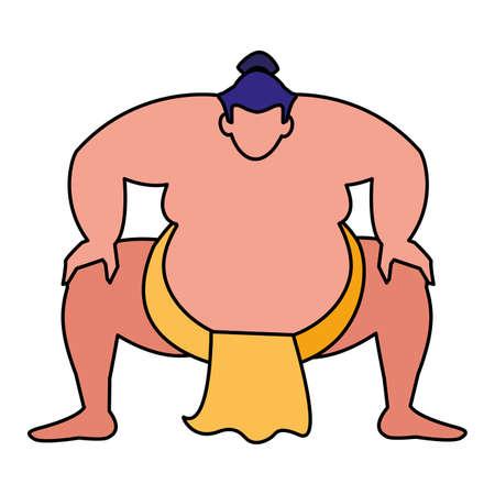 sumo wrestler icon over white background, vector illustration Archivio Fotografico