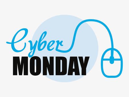 cyber lunedì segno topo cerchio sfondo illustrazione vettoriale Vettoriali