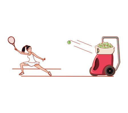 woman practicing tennis with ball throwing machine vector illustration design