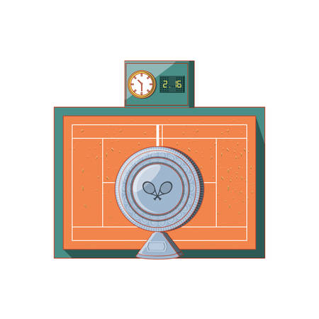tennis sport court with cup trophy and scoreboard vector illustration design