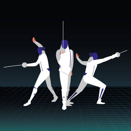fencing players over black background, colorful design. vector illustration