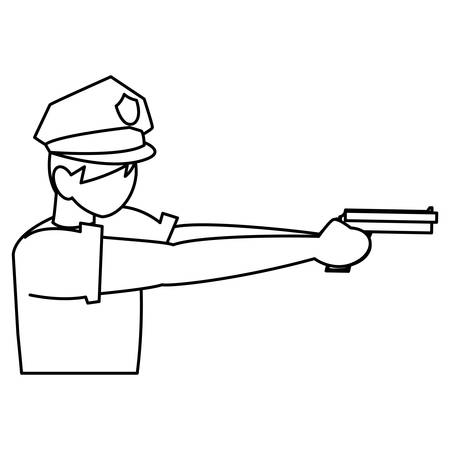 policeman with a gun over white background, vector illustration