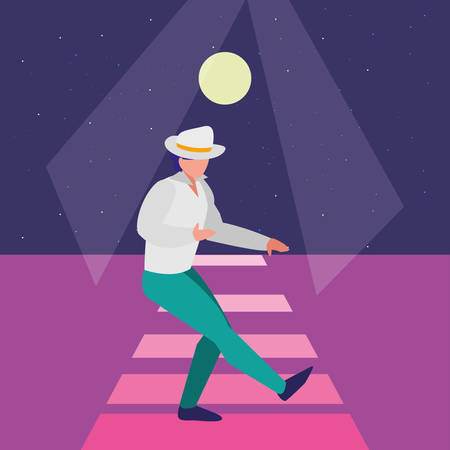 tropical dancer man with hat over disco background, vector illustration