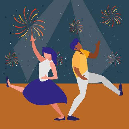 couple of dancers dancing over disco background, vector illustration Illustration