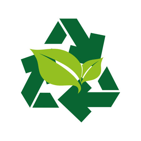 recycle arrows symbol with leafs plant vector illustration design