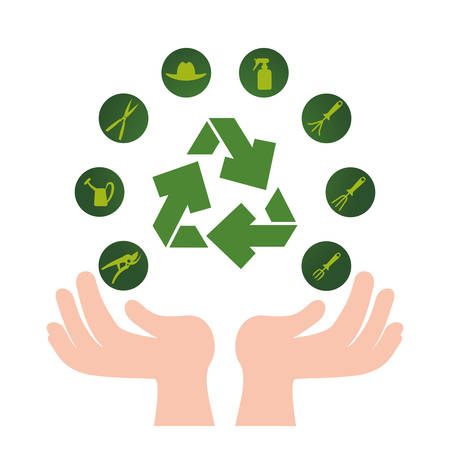 hands with recycle arrows and ecology icons vector illustration design