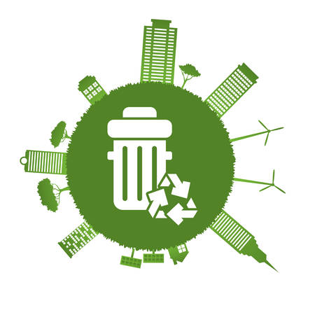 ecology green city silhouette with recycled bin vector illustration design 向量圖像