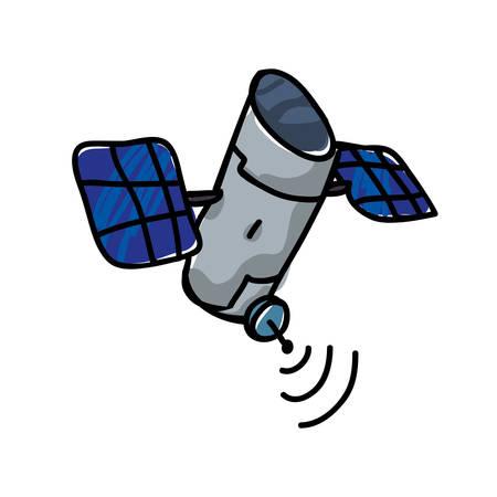 artificial satellite orbiting icon vector illustration design Illusztráció