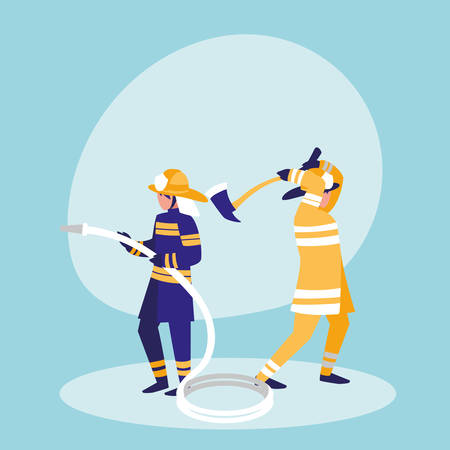 group of firefighters with hose and ax vector illustration design