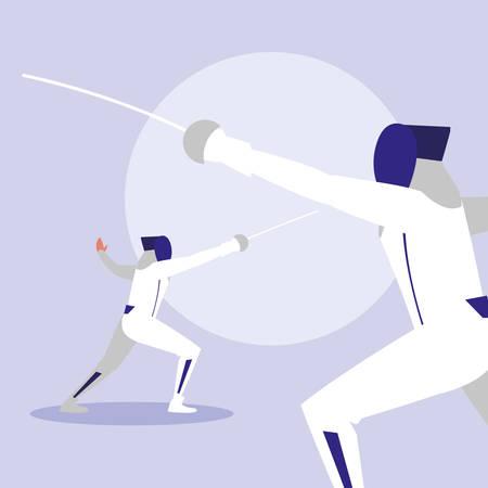 Personas que practican esgrima avatar ilustración Vectorial character design Ilustración de vector