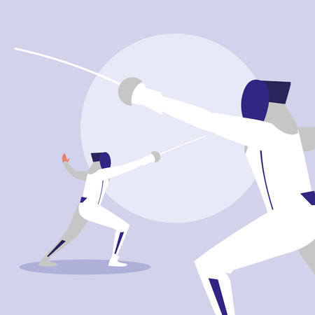 persons practicing fencing avatar character vector illustration design Vettoriali